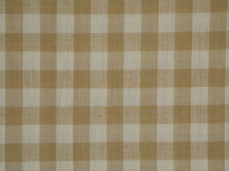Wheat And Cream Large Check Cotton Homespun Fabric  - product image