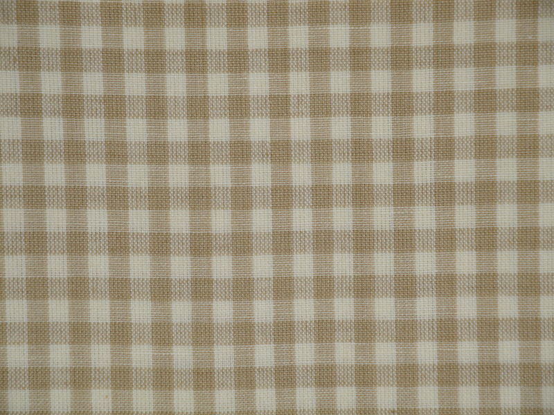 Wheat And Cream Medium Check Cotton Homespun Fabric  - product image
