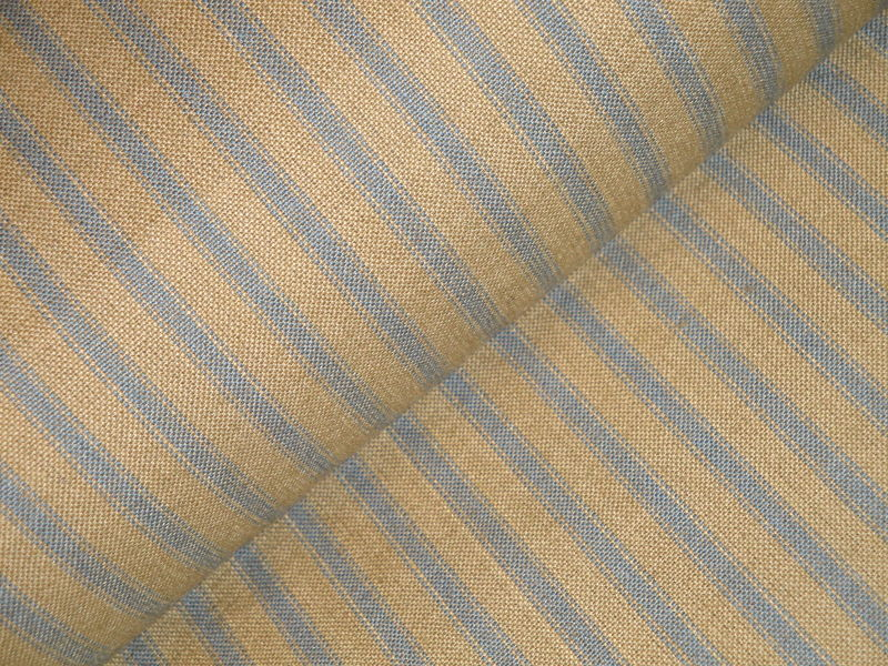 Country Blue And Tea Dye Ticking Stripe Homespun Fabric  - product image