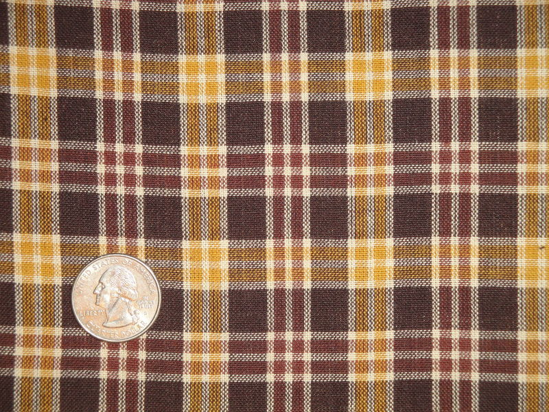 Brown Gold Natural Plaid Cotton Homespun Fabric  - product image
