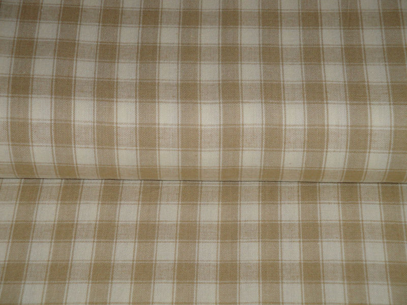 Wheat And Cream House Check Cotton Homespun Fabric  - product image