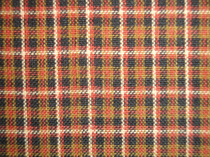 Plaid Homespun Fabric Rust Khaki Black Natural Sold By The Yard - product image