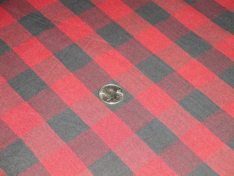 Country Red And Black Cotton Homespun Buffalo Check Fabric  - product image