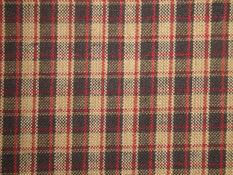 Black,Red,Tea,Dye,Colonial,Plaid,Cotton,Homespun,Fabric,Dunroven House H55, plaid fabric, cotton plaid fabric, red black tan plaid fabric, home decor plaid fabric. primitive plaid fabric, curtain plaid fabric. bedding plaid fabric.