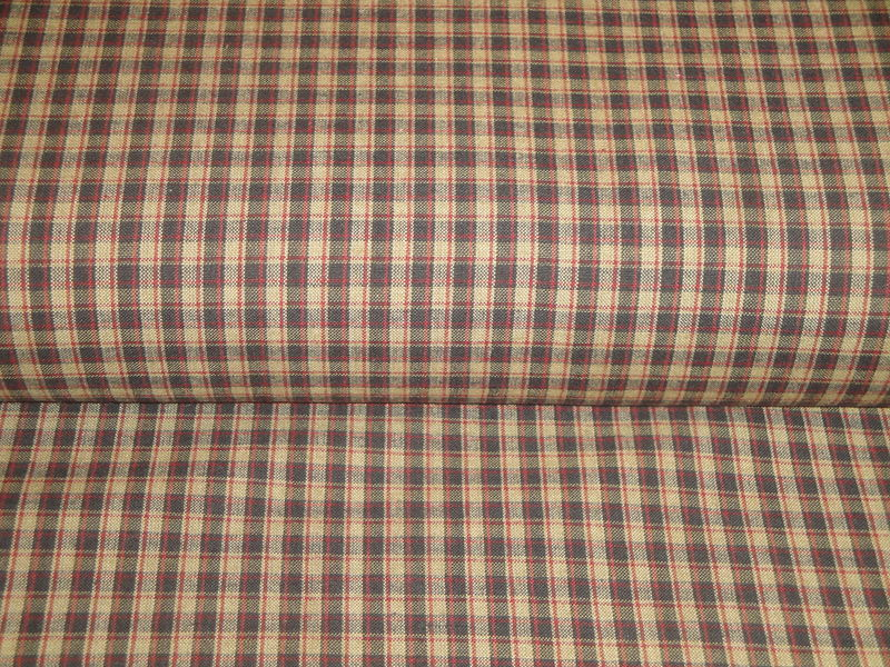 Black Red Tea Dye Colonial Plaid Cotton Homespun Fabric  - product image