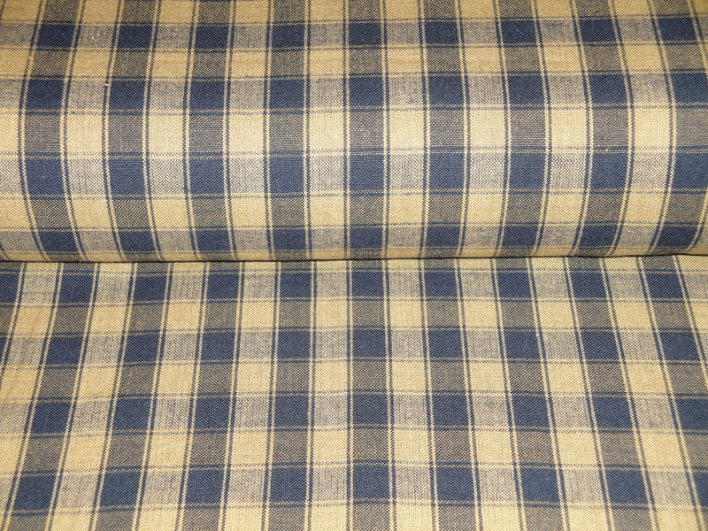 Navy Blue And Tea Dye House Check Woven Cotton Homespun Fabric  - product image