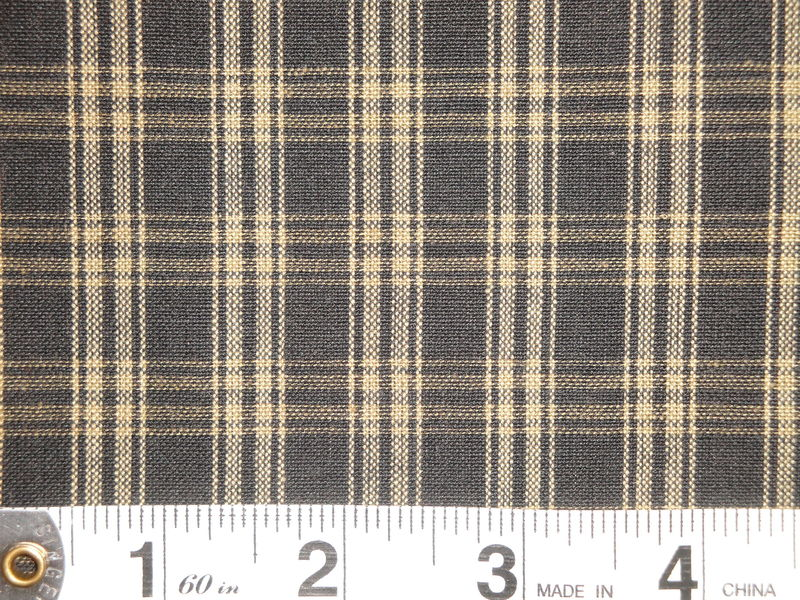 Black And Tea Dye Catawba Plaid Cotton Homespun Fabric  - product image