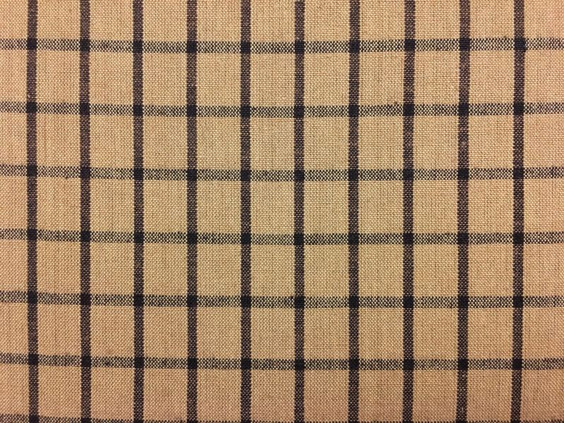 Tea Dye And Black Window Pane Plaid Woven Cotton Homespun Fabric  - product image