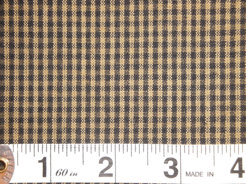 Black And Tea Dye Cotton Homespun Small Check Fabric  - product image