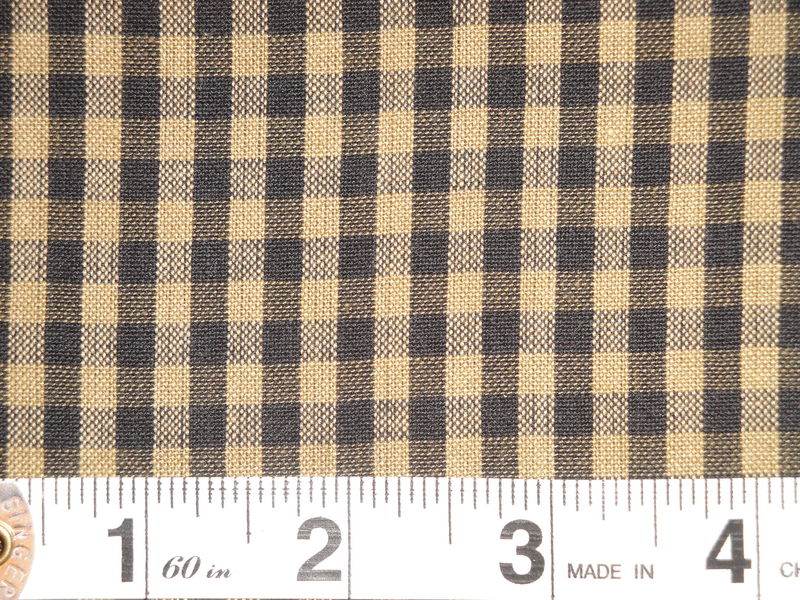 Black And Tea Dye Cotton Homespun Medium Check Fabric  - product image