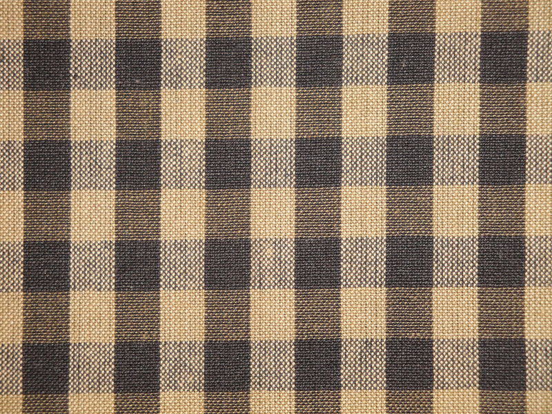 Black And Tea Dye Cotton Homespun Large Check Fabric  - product image