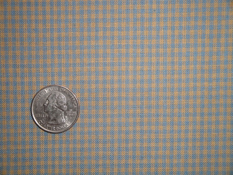Country Blue And Tea Dye Cotton Homespun Small Check Fabric  - product image