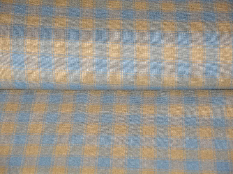 Country Blue And Tea Dye House Check Woven Cotton Homespun Fabric  - product image