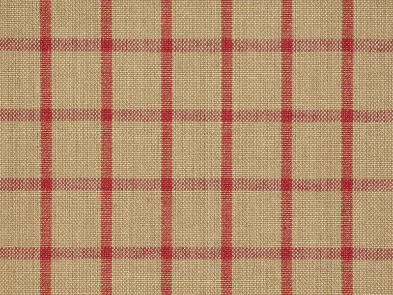 Tea Dye And Red Large Window Pane Plaid Woven Cotton Homespun Fabric  - product image