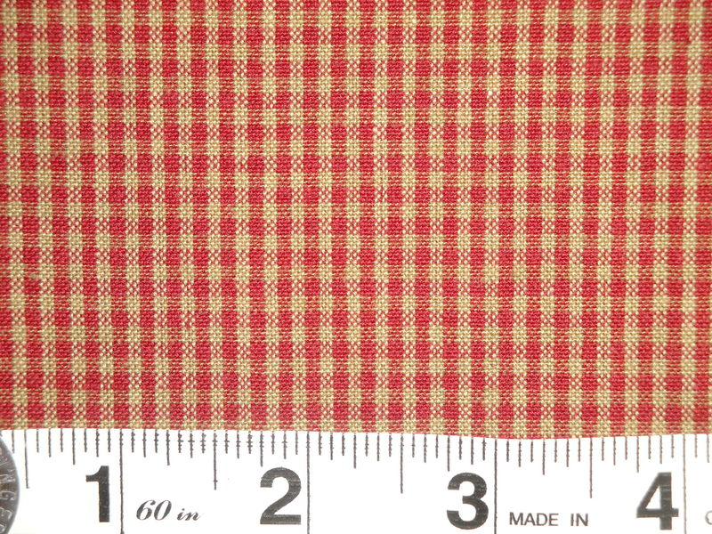 Red And Tea Dye Cotton Homespun Small Check Fabric  - product image