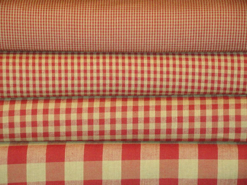Red And Tea Dye Cotton Homespun Medium Check Fabric  - product image