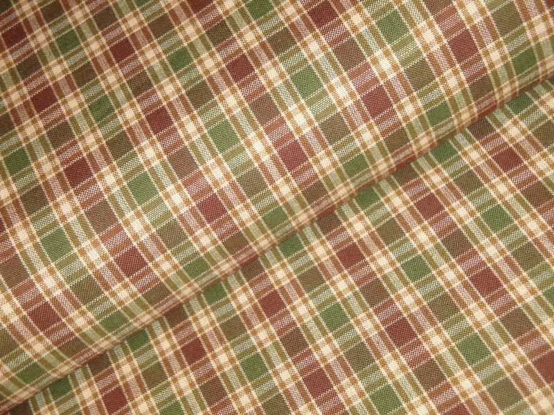 Sage Green Brown Wheat White Plaid Cotton Homespun Fabric  - product image