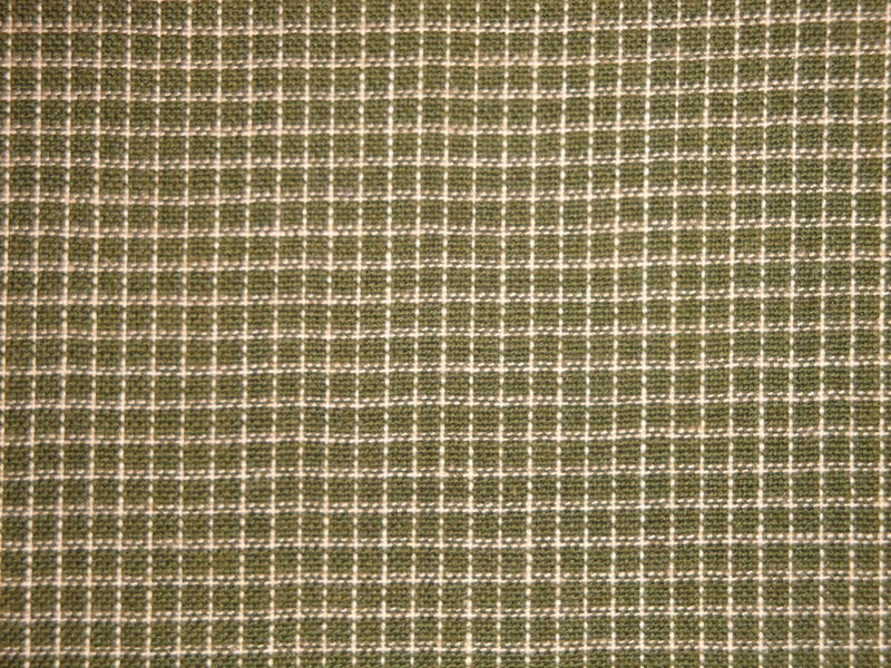 Dark Sage Green Windowpane Plaid Cotton Homespun Fabric  - product image