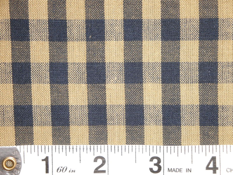 Navy And Tea Dye Cotton Homespun Large Check Fabric  - product image