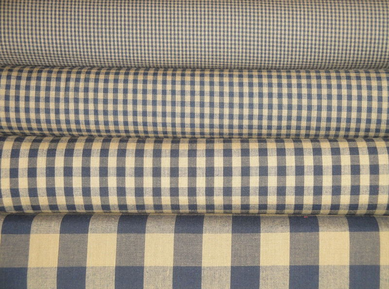 Navy Blue And Tea Dye Cotton Homespun Buffalo Check Fabric  - product image