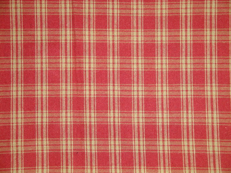 Red And Tea Dye Catawba Plaid Woven Cotton Homespun Fabric  - product image
