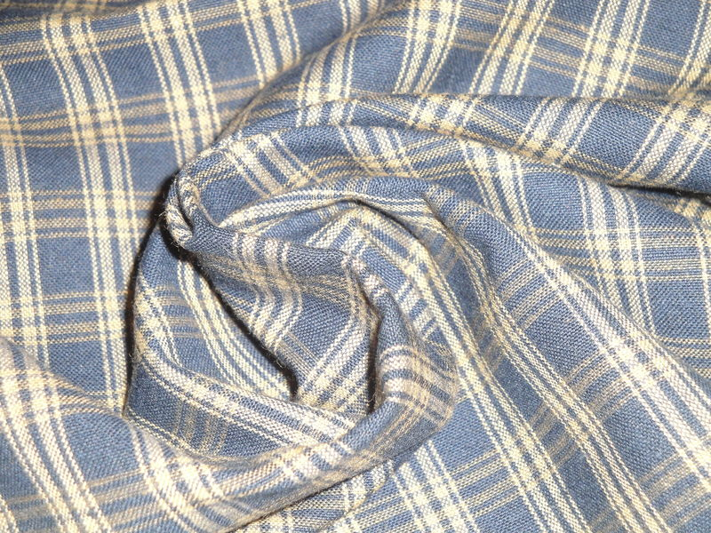 Navy Blue And Tea Dye Catawba Plaid Woven Cotton Homespun Fabric  - product image