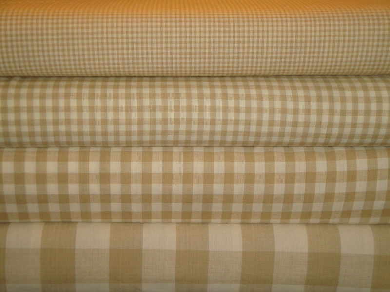 Wheat And Cream Small Check Cotton Homespun Fabric  - product image