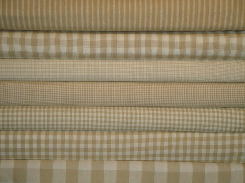 Wheat And Cream Plaid Cotton Homespun Fabric  - product image