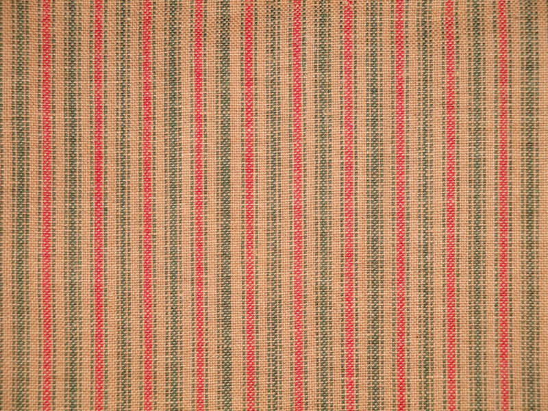 Red And Green Woven Cotton Ticking Stripe Holiday Fabric Sold By The Yard - product image