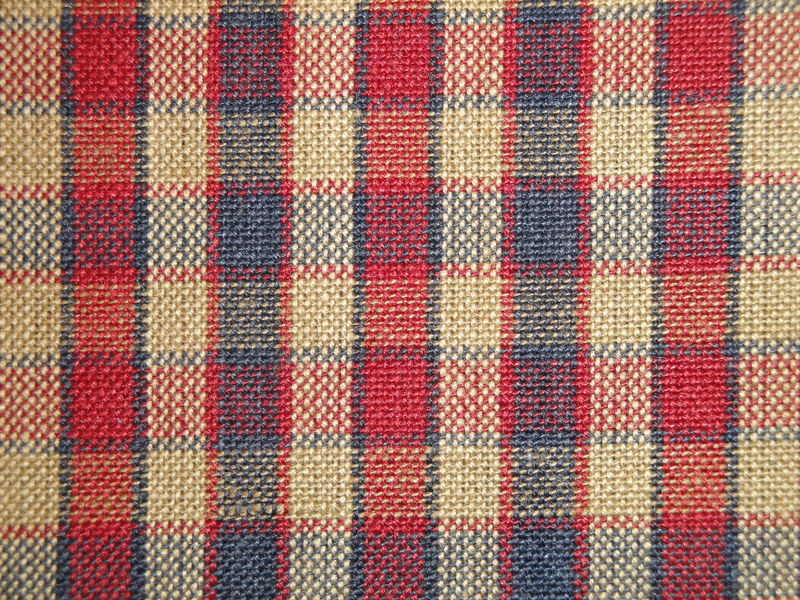 Navy Blue Red Tea Dye Woven Cotton Americana Plaid Homespun Fabric - product image
