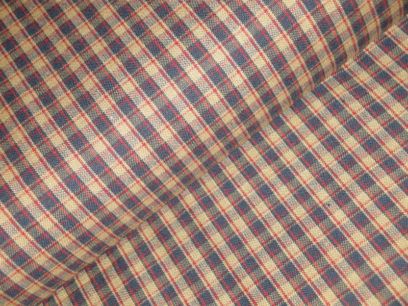 Navy Blue Tea Dye Red Woven Cotton Americana Plaid Homespun Fabric - product image