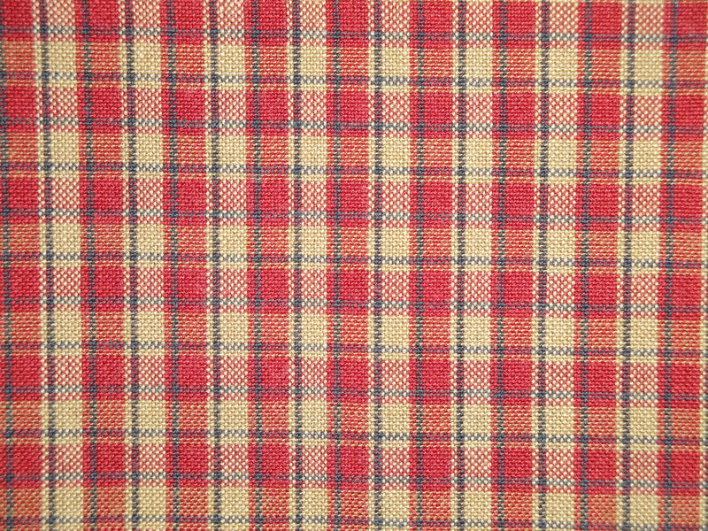 Red Tea Dye Navy Blue Woven Cotton Americana Plaid Homespun Fabric - product image