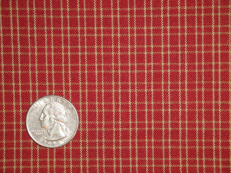 Red And Tea Dye Double Pane Plaid Woven Cotton Homespun Fabric  - product image