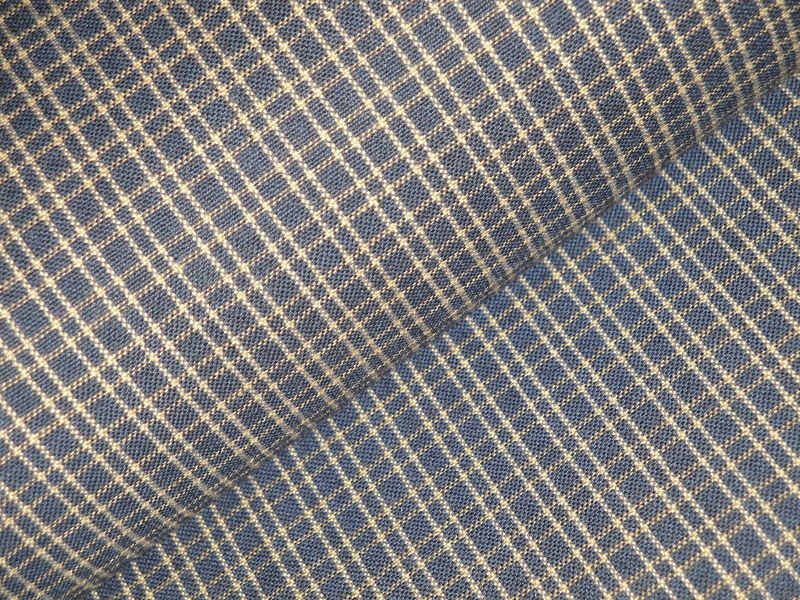 Navy Blue And Tea Dye Double Pane Plaid Woven Cotton Homespun Fabric  - product image