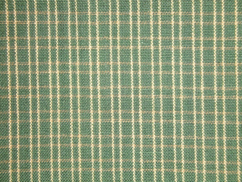 Green And Tea Dye Double Pane Plaid Woven Cotton Homespun Fabric  - product image
