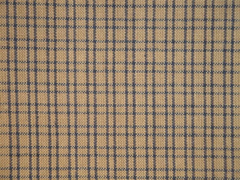 Tea Dye And Navy Double Pane Plaid Woven Cotton Homespun Fabric  - product image