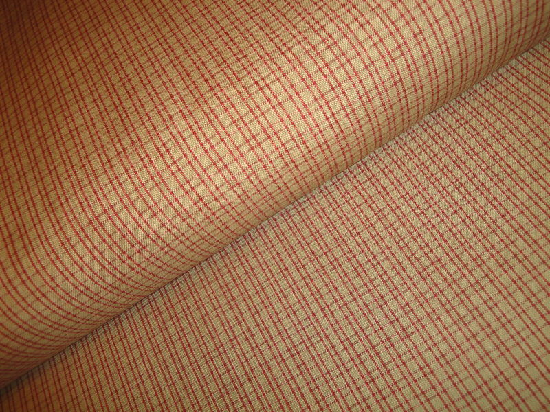 Tea Dye And Red Double Pane Plaid Woven Cotton Homespun Fabric  - product image