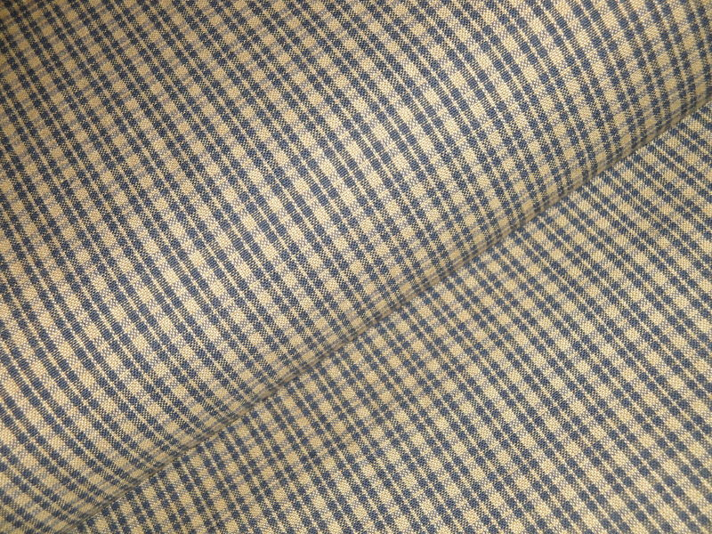 Navy Blue And Tea Dye Cotton Plaid Homespun Fabric  - product image