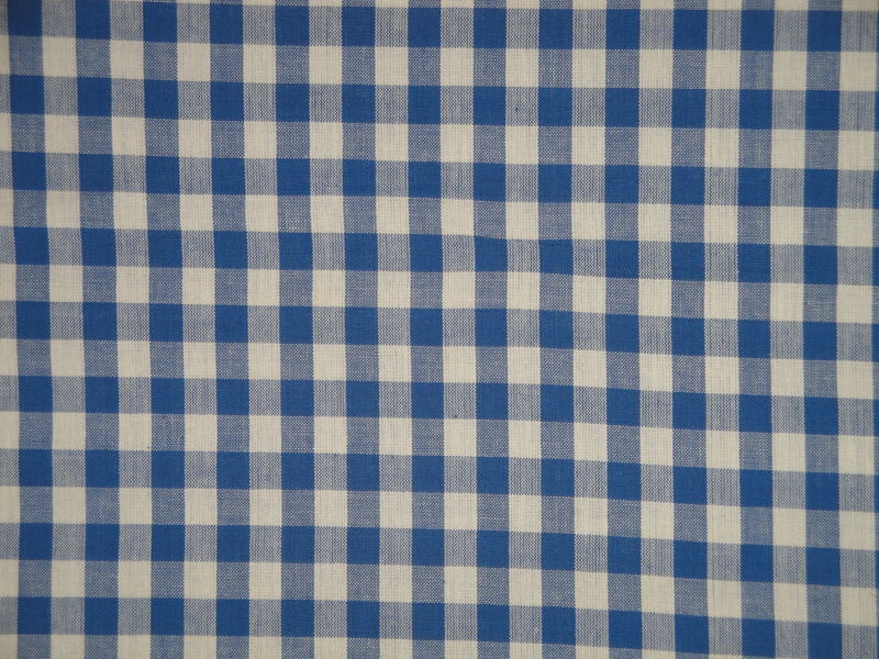 Providence Blue And Cream Woven Cotton Homespun Large Check Fabric  - product image