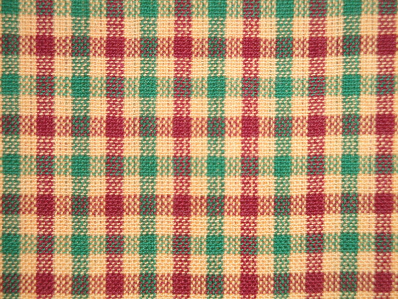 Red Green Beige Check Christmas Homespun Material - product image