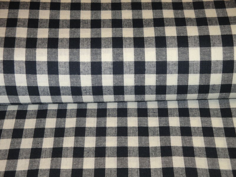 Navy Blue And Cream Woven Cotton Homespun Large Check Fabric  - product image