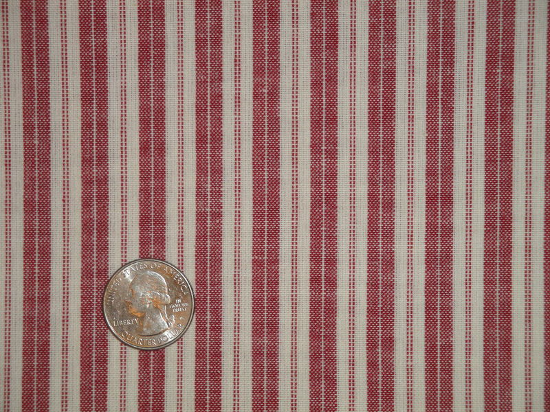 Red And Cream Woven Cotton Ticking Stripe Homespun Fabric  - product image