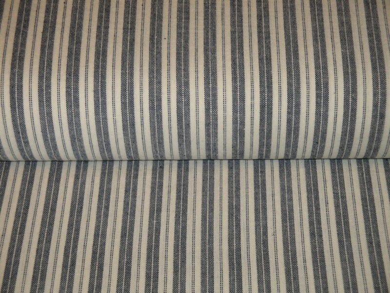 Navy Blue And Cream Woven Cotton Ticking Stripe Homespun Fabric  - product image