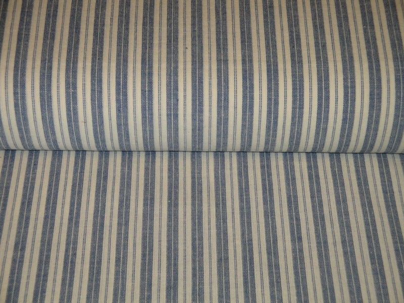 Providence Blue And Cream Woven Cotton Ticking Stripe Homespun Fabric  - product image