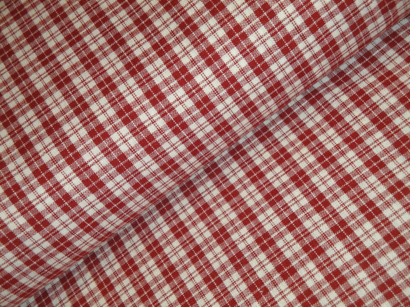 Red And Cream Woven Cotton Multi Plaid Homespun Fabric  - product image