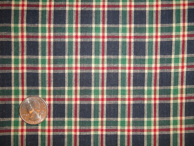 Navy Blue Green Red Natural Woven Cotton Plaid Homespun Fabric - product image