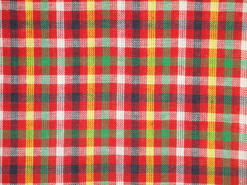 Red Navy Green White And Yellow Check Cotton Homespun Fabric - product image