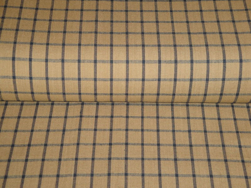 Tea Dye And Navy Blue Window Pane Plaid Woven Cotton Homespun Fabric  - product image