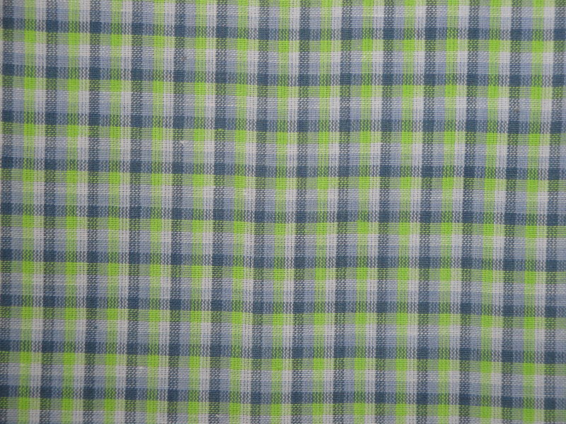 Purple Lavender Lime Woven Cotton Check Homespun Fabric - product image