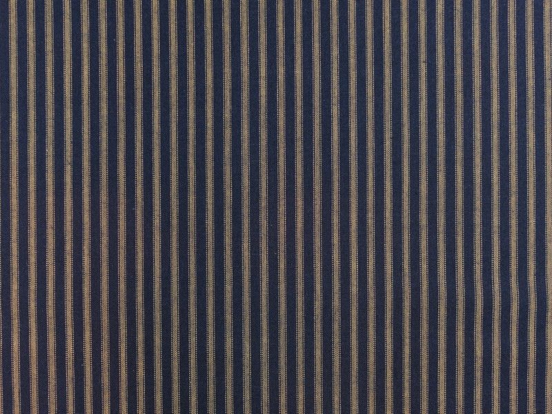 Navy Blue And Tea Dye Ticking Stripe Homespun Fabric - product image
